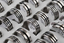 Wholesale Lots Jewelry 20pcs Silver Tone Men's Stainless Steel Wedding Rings