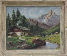 Hütte im Hochgebirge Schweiz, Ölgemälde, signiert R.Lesauvags