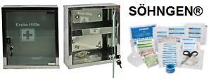 mittlerer Erste- Hilfe- Schrank Edelstahl Glastür- mit SÖHNGEN® Füllung DIN13157
