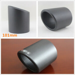 1*Durable Real Carbon Fiber Matte Car 101mm Exhaust Pipe Cover Muffler Pipe Tip