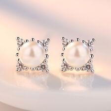 Muye 925 Sterling Silver Crystal Flower Pearl Stud Earrings Women Charm Jewelry