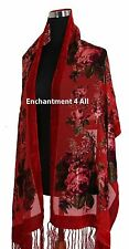 Elegant Red Vintage Floral 100% Silk Burnout Velvet Oblong Shawl Wrap Scarf