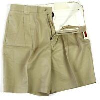 Axis Mens Shorts Pleated Khaki Honey Color Size 33 $55 NWT 100% Cotton