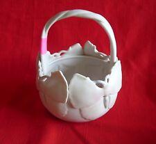 Fitz & Floyd 1982 Butterfly Bisque Ceramic Basket Vase Bowl Japan