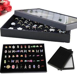100 Slot Jewelry Display Storage Box Earring Ring Tray Showcase Holder Organizer