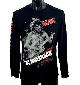 Men's ACDC '74 JAILBREAK L/S T Shirt size small black 100% cotton metal rock