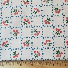 Vintage Retro Cherries Cotton Twill Fabric Dotted Blue Check Cherries BY THE YD