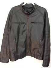 Black Rivet Large Men's Leather Look  Jacket Coat - Motorcycle Look Wilsons