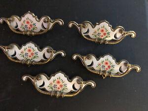 Vintage Brass Drawer Pulls Set Of 5