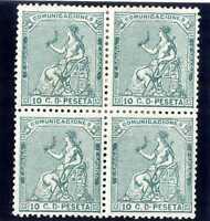 Sellos de España 1873 nº 133 10 céntimos Alegoría de España,bloque cuatro nuevos