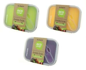 (3) BENTO BOX ECO ONE COLLAPSIBLE SILICONE FOOD CONTAINER BPA FREE