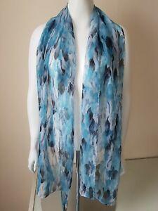 Ladies Silky Feel Blue Multicoloured Scarf Leaf Motif
