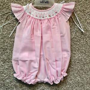 Will'beth Smocked Pink Infant Baby Newborn Girl Bubble Ribbons NWT Angel Sleeves