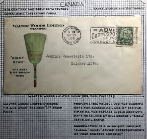 1929 Winnipeg Canada Advertising Walter Woods Ltd Best Broom Cover To Calgary