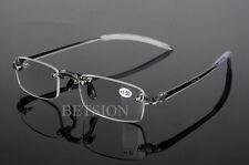 TR90 Rimless flexible Frame Gray Reading Glasses Reader +1.0 +1.5 +2 +3 +3.5 +4