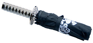 Japanese Katana Compact Folding Umbrella, Hidden Water Revealing Patterns,Black