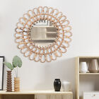 Nordic Design Rattan Mirrors For Home Bathroom Round Wicker Wall Mounted Mirror