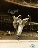 "Bob Feller Signed Inscribed ""HOF"" 8x10 Photo Indians MLB COA Autograph Baseball"
