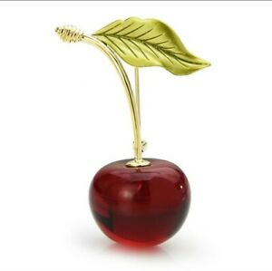 Vintage Style Red Lucite Cherry Fruit Fine Enamel Gold Brooch Pin Jewellery