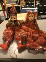 Lot Of 2 Indian Hand Painted Traditional Wooden Marionette Dolls 1970's