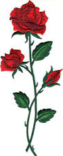 """RED ROSE Long Stem Iron On Patch 9 3/4"""" Flower Roses"""