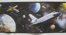"PEEL & STICK ROOM MATES SPACE SHUTTLE wallpaper border 5"""