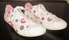 Juniors Converse All Star Sneakers With Multi Colored Polka Dots Gir'ls Size 4