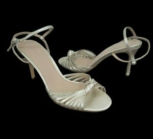 WITCHERY womens size 39 strappy metallic gold stiletto heels 70s party occasion