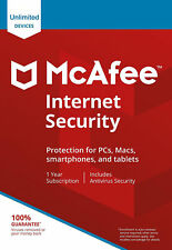 McAfee Internet Security 2018 Unlimited Devices 1 Year Antivirus Genuine License