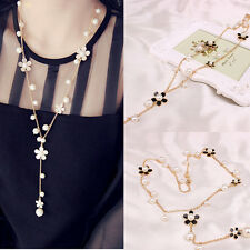 |SALE| 2 Pcs ~COMB(BLACK+WHITE)Flower & Simulated Pearl Pendant Necklace  Chain