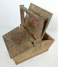 Lovely Antique Wooden Old painted Handmade Box with Handle and two Covers on top