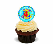 4th Birthday Boy - Edible Cupcake Toppers, Stand-up Fairy Cake Bun Decorations