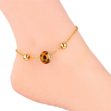 18K Gold Platinum Plated Ankle Chain Bracelets Cool Leopard Ball Charms Anklets
