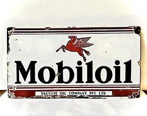 Mobiloil Enamel Sign Dimensions 505 X 275 Mobil Oil