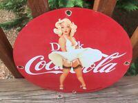 "Coca Cola Heavy Porcelain Sign 12"" Soda Cola Sign"