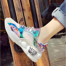 Womens Round Toe Lace Up Hollow Sneakers Sports Running Creeper Heel Shoes Chic