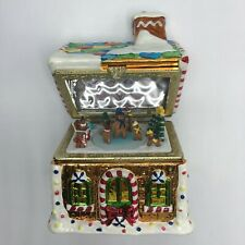 Gingerbread House Xmas Hinged Music Box