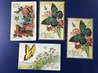 4 BIRTHDAY Antique Postcards Beautiful Butterflies. Collector Items. Nice. 1900s