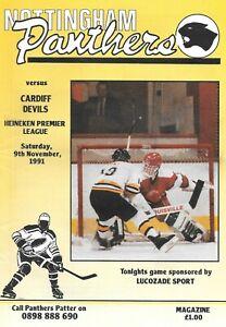 1991 Nottingham Panthers v Cardiff Devils Ice Hockey Programme (9/11/91)