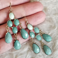 Vintage Womens Multi-Green Color Beads Gems Dangle Drop Gold-Tone Hook Earrings