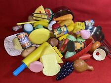 Vintage 73 pcs Pretend Play Toy Fake Food Plastic Meat Fruit Vegetable Utensils