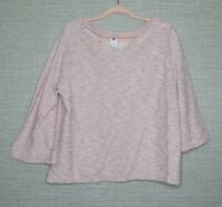 Old Navy Sz L Pink White Boucle Textured Sweater Bell Sleeve