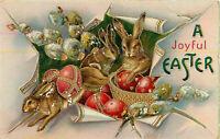 Postcard A Joyful Easter, White, Decorated Eggs, Bunnies