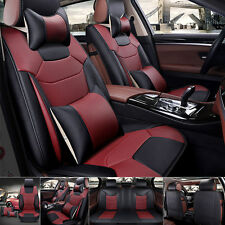 Microfiber Leather Car Seat Cover Full Set Front+Rear 5 Seats Cushion W/Pillows