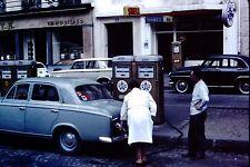 Vintage Slide 1960's Shell Azur Gas Station Pumps Spain Old Cars