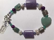 "Sterling Silver Jade And Amethyst Bracelet, 7.5"" Long"