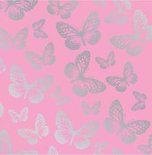 papillon Papier peint 10M Rose & ARGENT METALIQUE Chambre à Coucher Filles