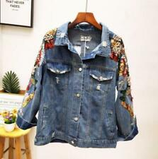 Womens Ladies Fashion Sequin Beads Ripped Denim Jeans Jacket Coat Outwear 4373