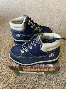 Vintage Timberland Toddler Baby Denim Navy Boots Size 8.5 15896 NOS NEW!