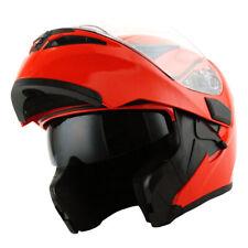1Storm Motorcycle Modular Flip up Full Face Helmet Dual Visor Glossy Red